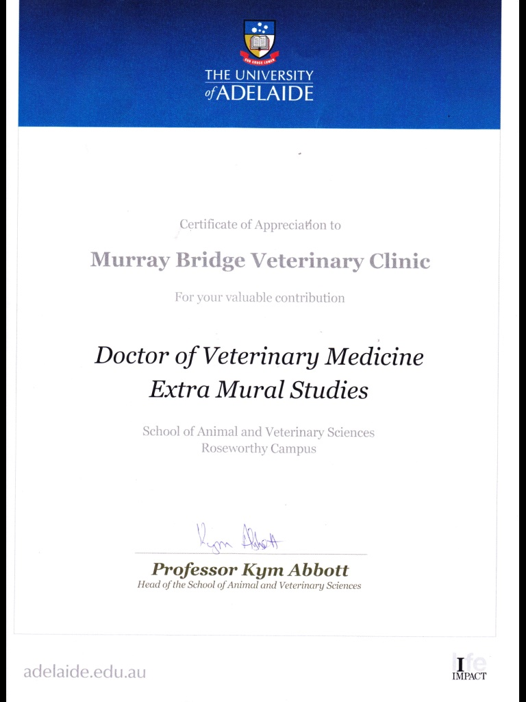 The University of Adelaide - Doctor of Veterinary Medicine Extra Mural Studies