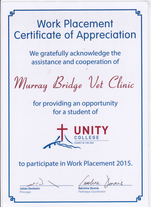 Unity College - Work Placement Certificate of Appreciation